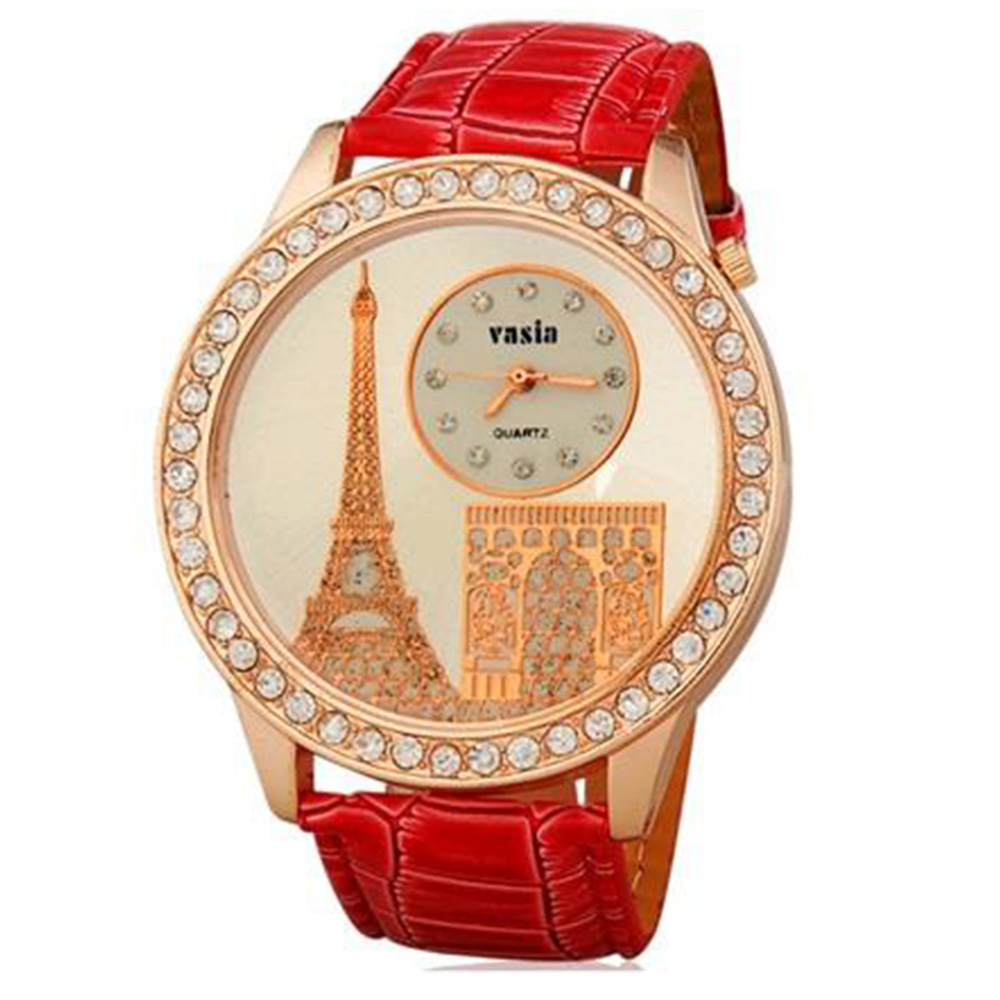 Tower Design Water Resistant Quartz Movement Analog Watch with Faux Leather Strap - Red