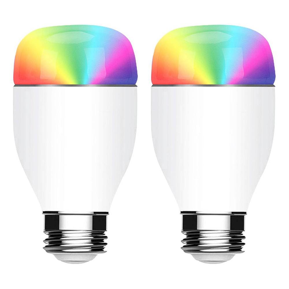 2pcs 7W 900LM WIFI Smart LED Birne APP Sprachsteuerung Multicolor Licht Alexa Google Home - Weiß