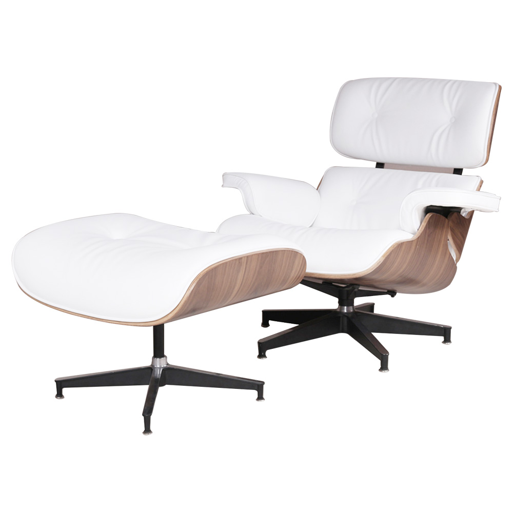 Eames Lounge Chair and Ottoman Adjustable Rotatable For Office Home - White