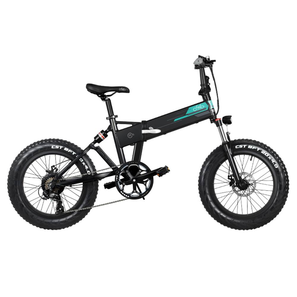 "FIIDO M1 Folding Electric Mountain Bike 20"" Wheels 4 Inch Fat Wide Tires 250W Motor Shimano 7 Speed Derailleur 12.5Ah Lithium Battery Three Riding Modes Dual Disc Brake LCD Display - Black"