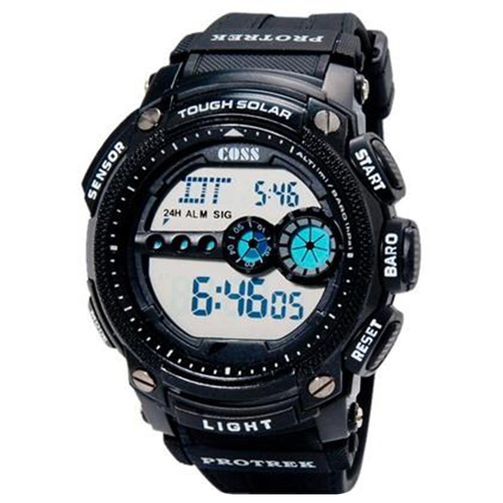 COSS 1101 Unisex Leisure Digital Watch с двумя часовыми поясами / M - черный