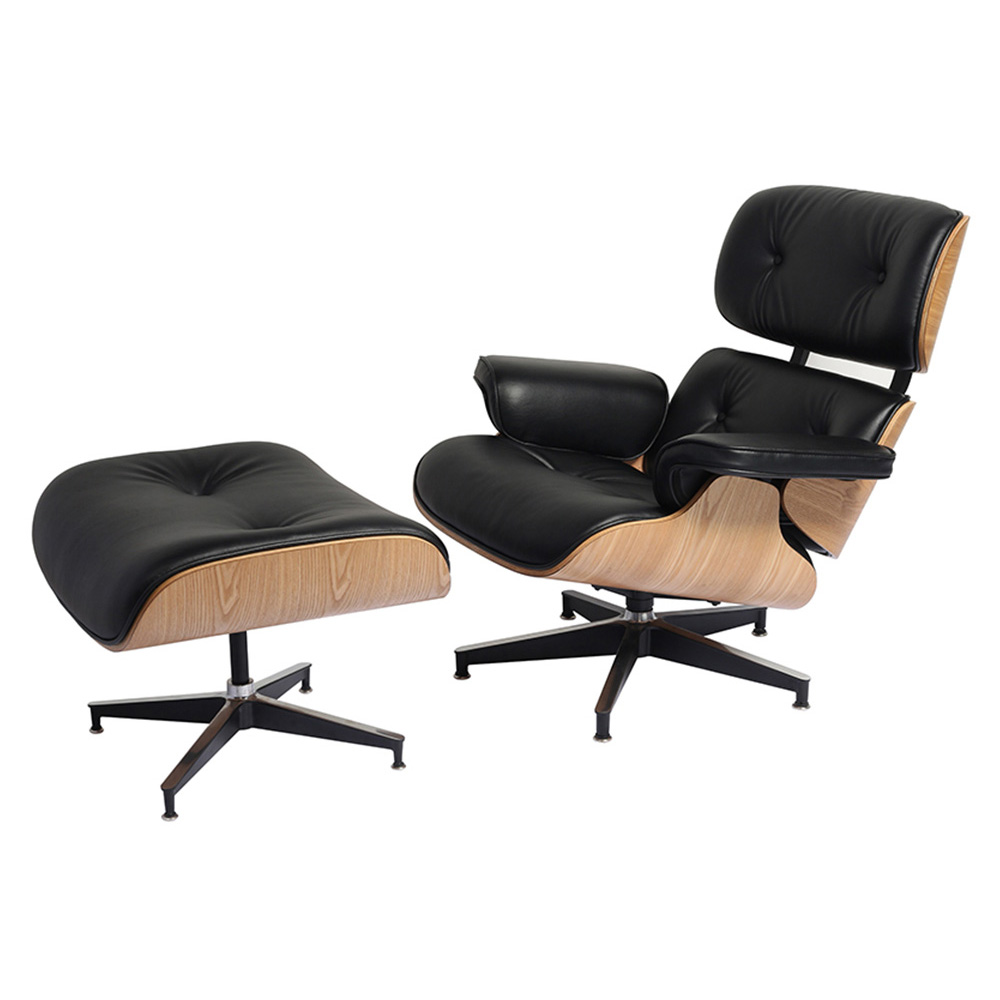 Eames Lounge Chair and Ottoman Adjustable Rotatable For Office Home - Noir