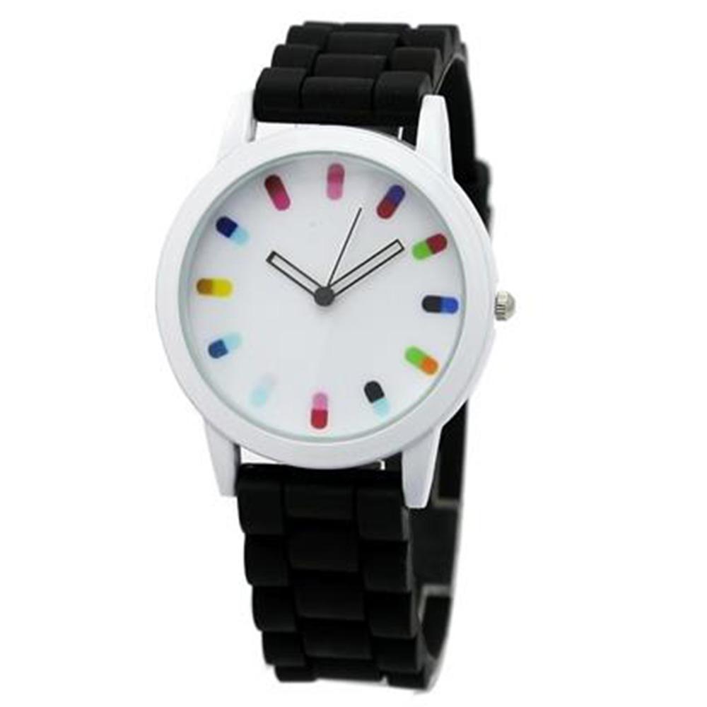 Кварцевый механизм Красочный Candy Watch - черный