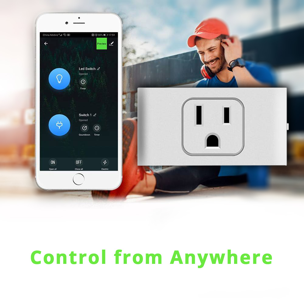 10A 2200 W Draadloze WIFI Smart Socket Met LED-nachtverlichting Alexa Google Assistant APP Control US Plug - Wit