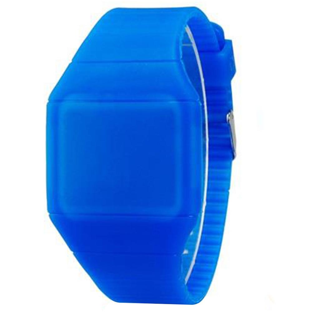 G1206 ساعة LED مضادة للماء مع شاشة لمسية حافظة بلاستيكية رفيعة - أزرق