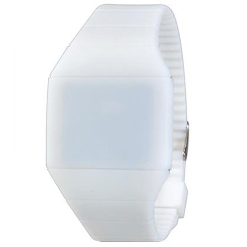 G1206 Waterproof LED Watch With Touch Screen Slim Plastic Case Strap - White
