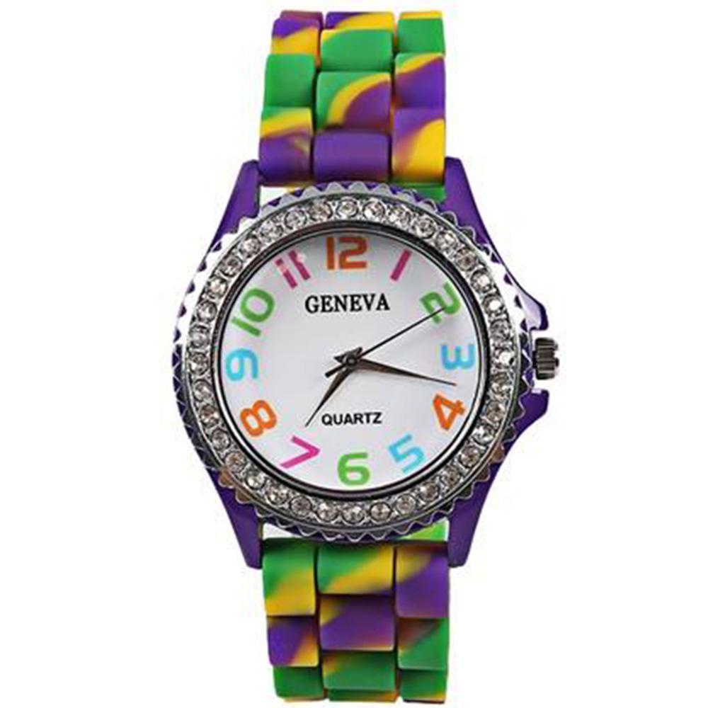 Кварцевый механизм Красочный чехол Camouflage Diamond Watch - фиолетовый