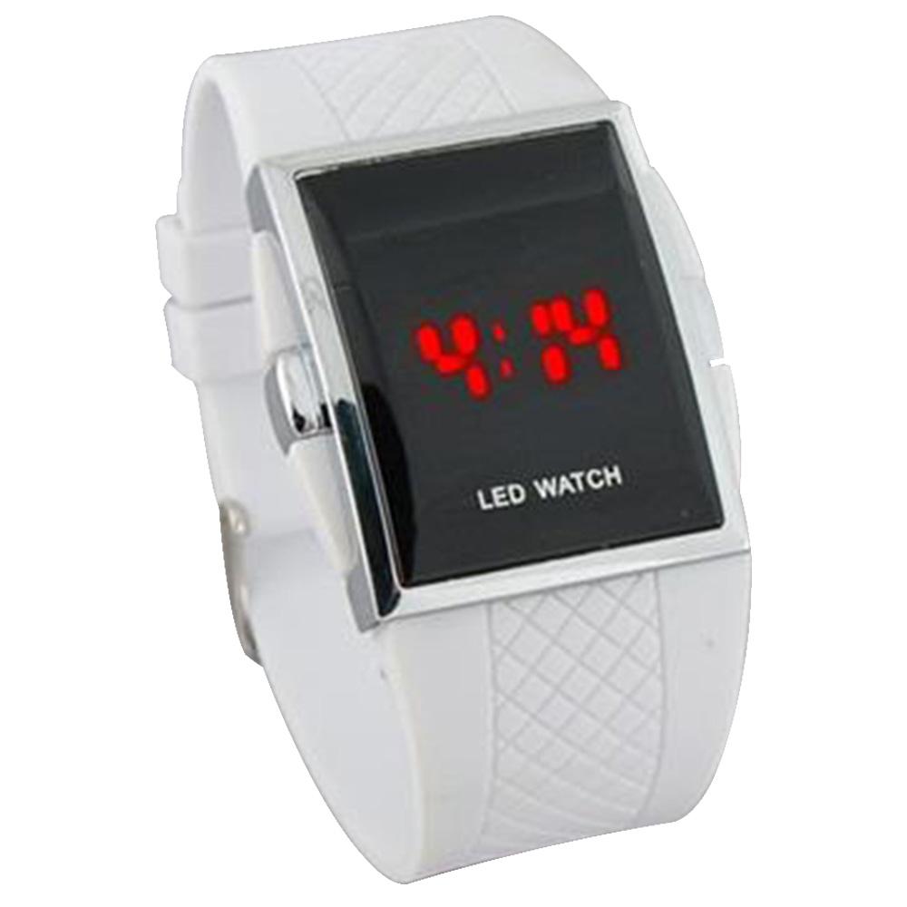Красный светодиодный пластиковый пресс Светодиодные часы Водонепроницаемая резиновая лента из цинкового сплава Корпус из серебра - белый