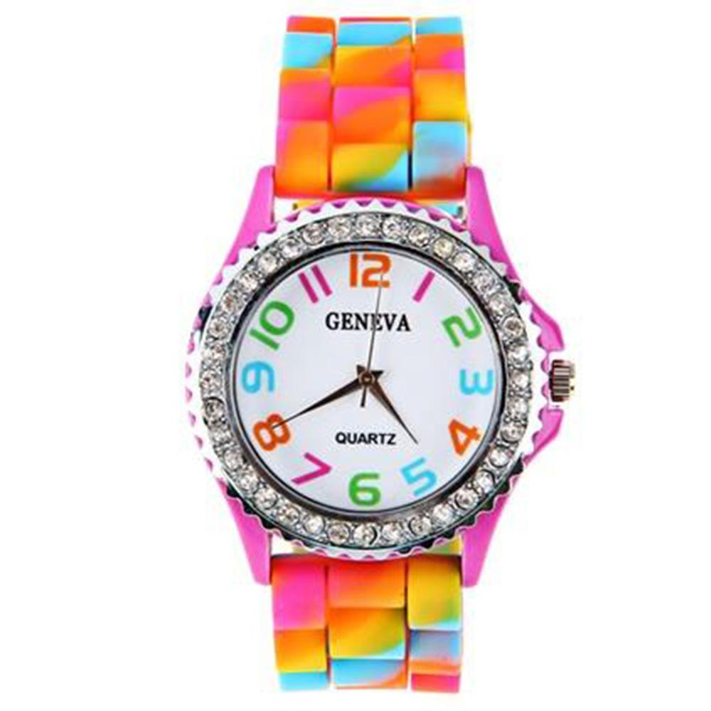 SG1203 ρολόι κίνησης χαλαζία Diamond για γυναίκες με πολύχρωμη θήκη καμουφλάζ - κόκκινο