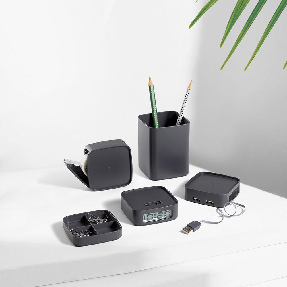 Set da scrivania impilabile Lexon LD110 Minitotem Deep Grey