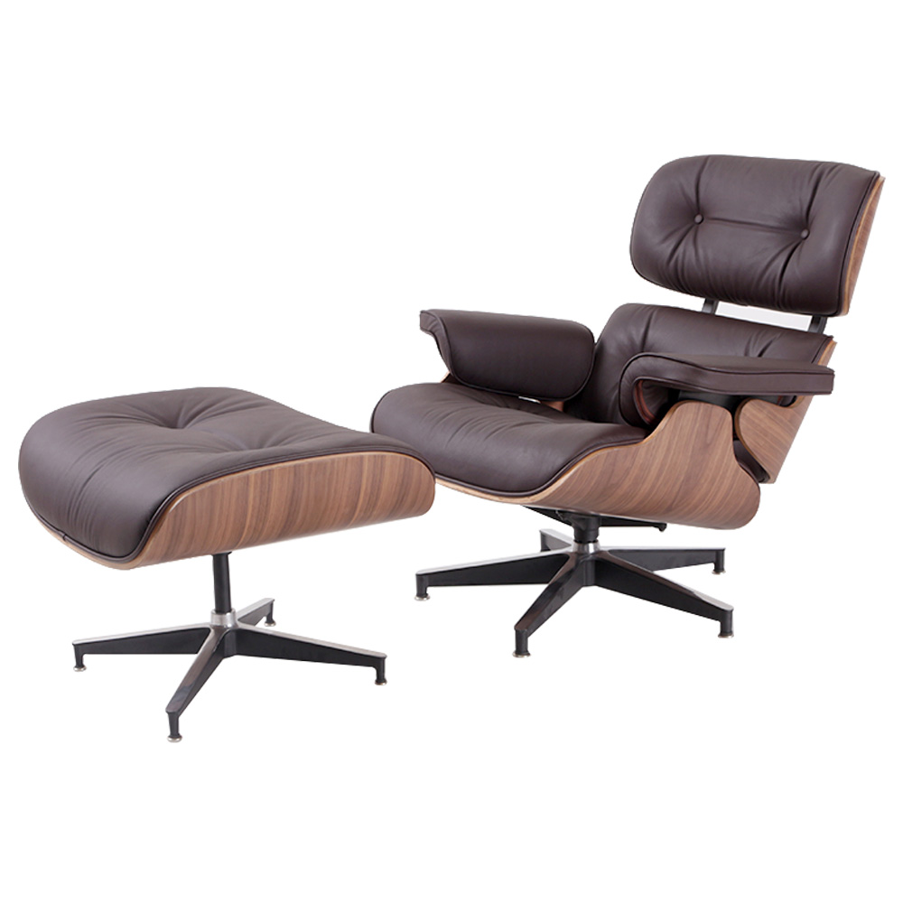 Eames Lounge Chair and Ottoman Adjustable Rotatable For Office Home - Dark Brown