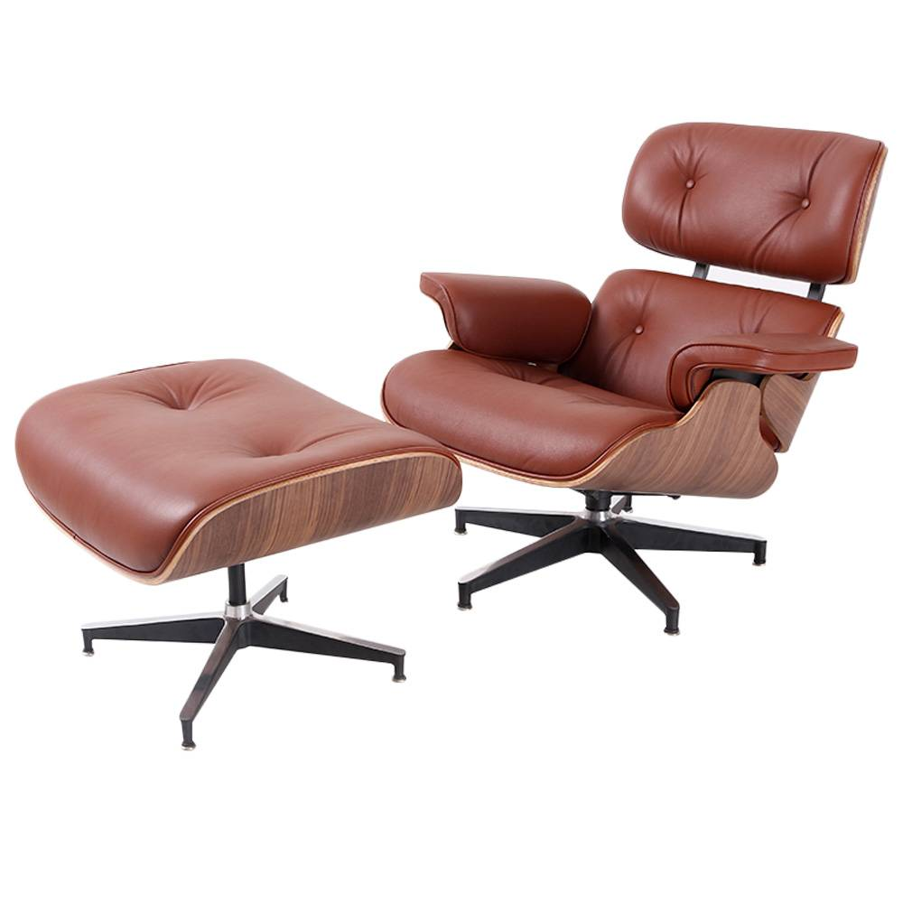Eames Lounge Chair and Ottoman Adjustable Rotatable For Office Home - Khaki фото