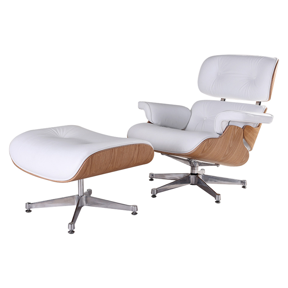 Makibes TY308 Lounge Chair Ottoman Adjustable Rotatable With Pedal-Seat For Office Home - White