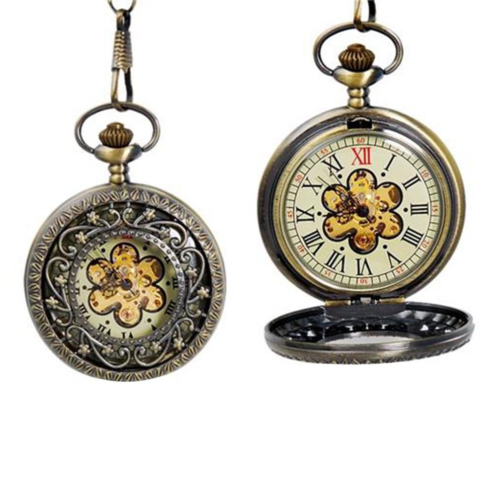 ساعة الجيب الميكانيكية البرونزية مع تصميم زهرة الجوف خفض التدريجي - لون النحاس