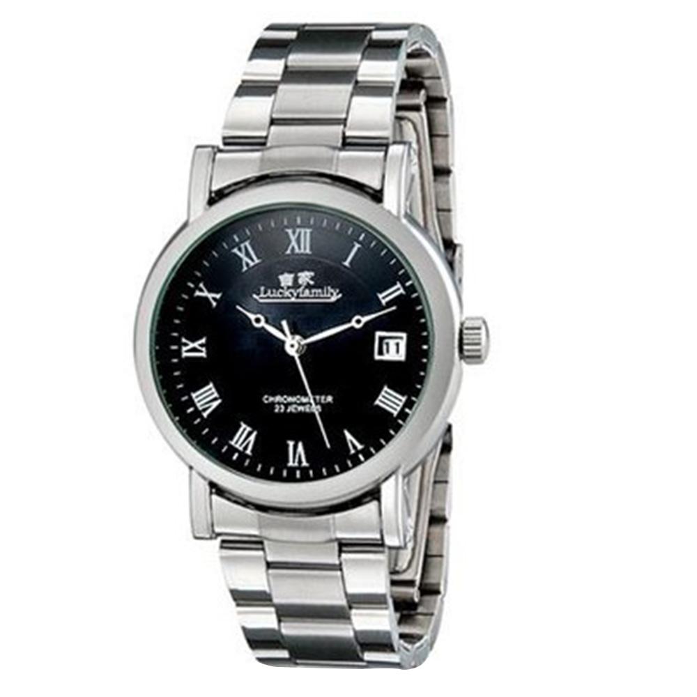 ساعة Luckyfamily G8009 للجنسين الأنيقة الأوتوماتيكية مع شريط الفولاذ المقاوم للصدأ التقويم - أسود M