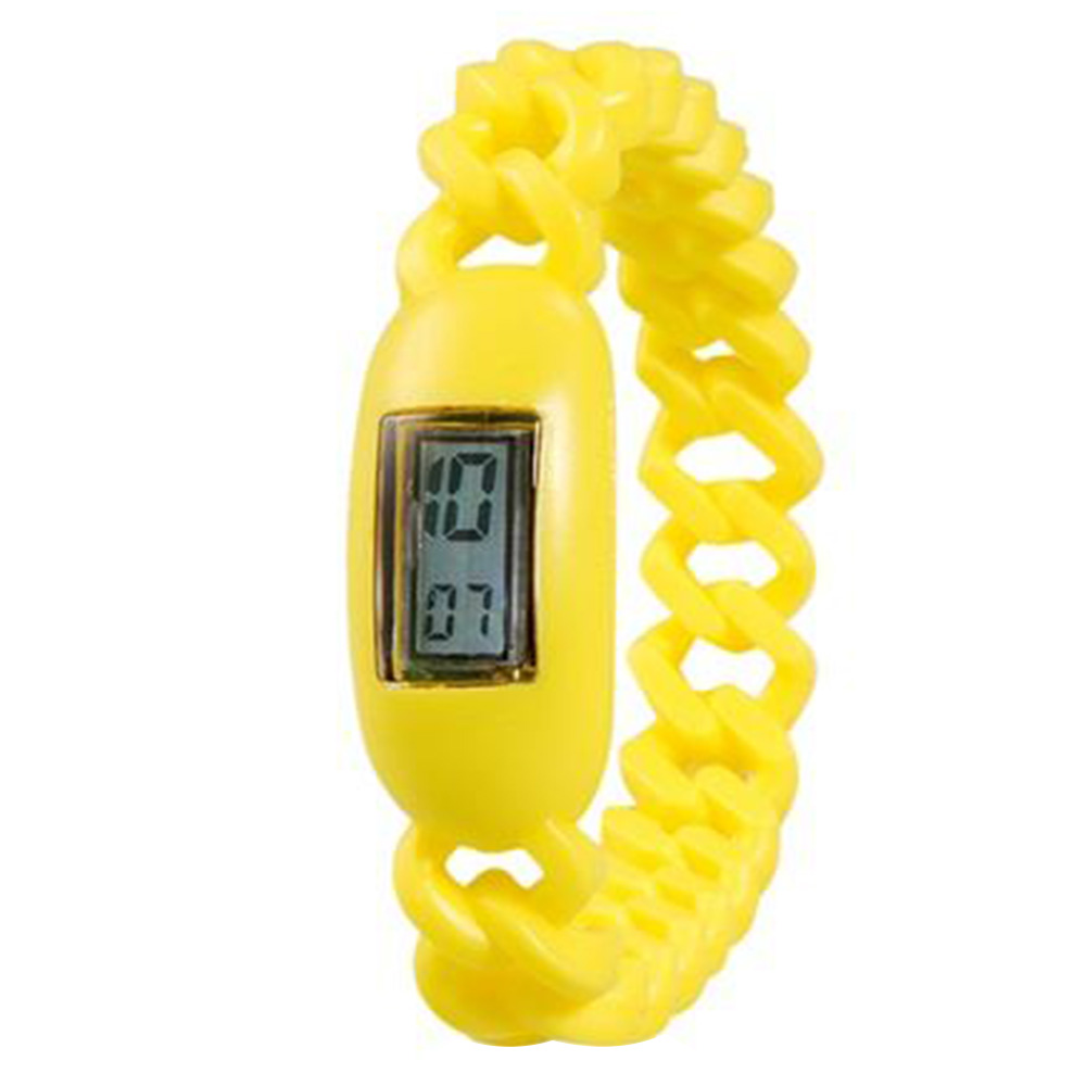 Silicone Waterproof Anion Sports Bracelet With Calendar Display Wrist Watch - Yellow