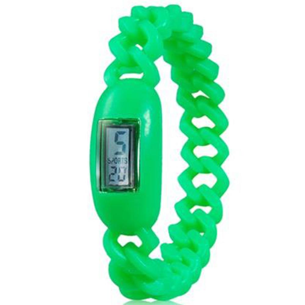 Silicone waterdicht anion sport armband met kalenderweergave polshorloge - groen