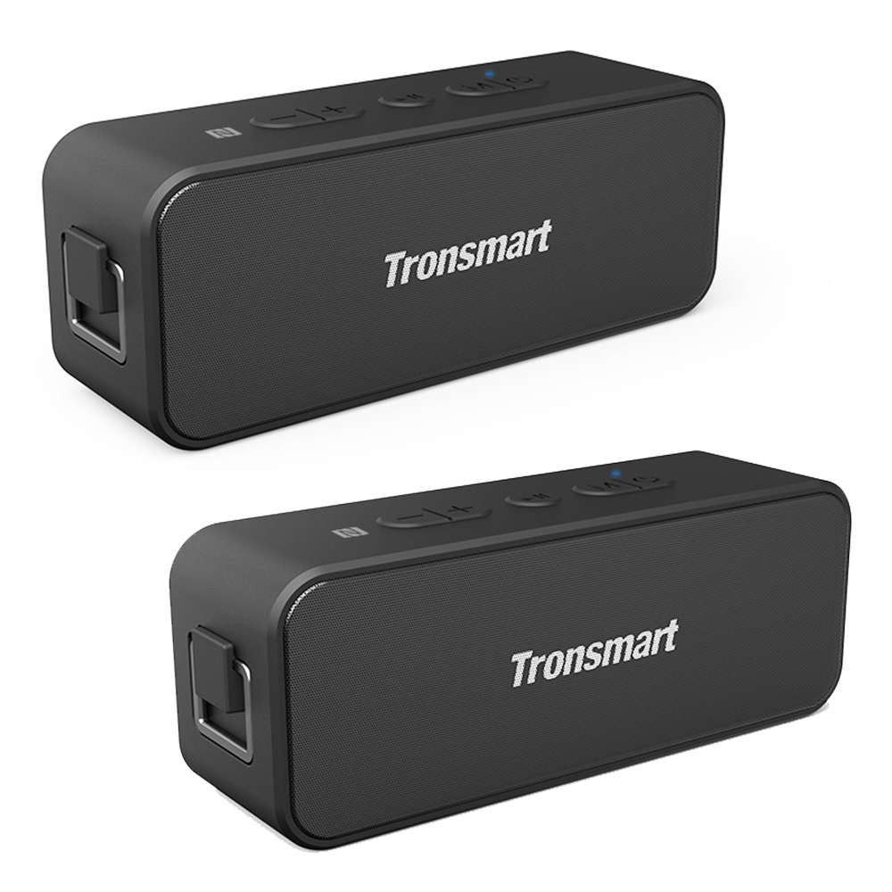 [2 Packs] Tronsmart T2 Plus 20W Bluetooth 5.0 Luidspreker NFC 24H Speeltijd IPX7 Waterdichte Soundbar met TWS, Siri, Micro SD