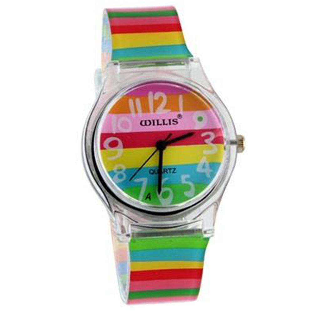 Κομψή αναλογική ρολόι γυναικών μοτίβο ουράνιο τόξο ρολόι με πλαστικό λουράκι - πολύχρωμο