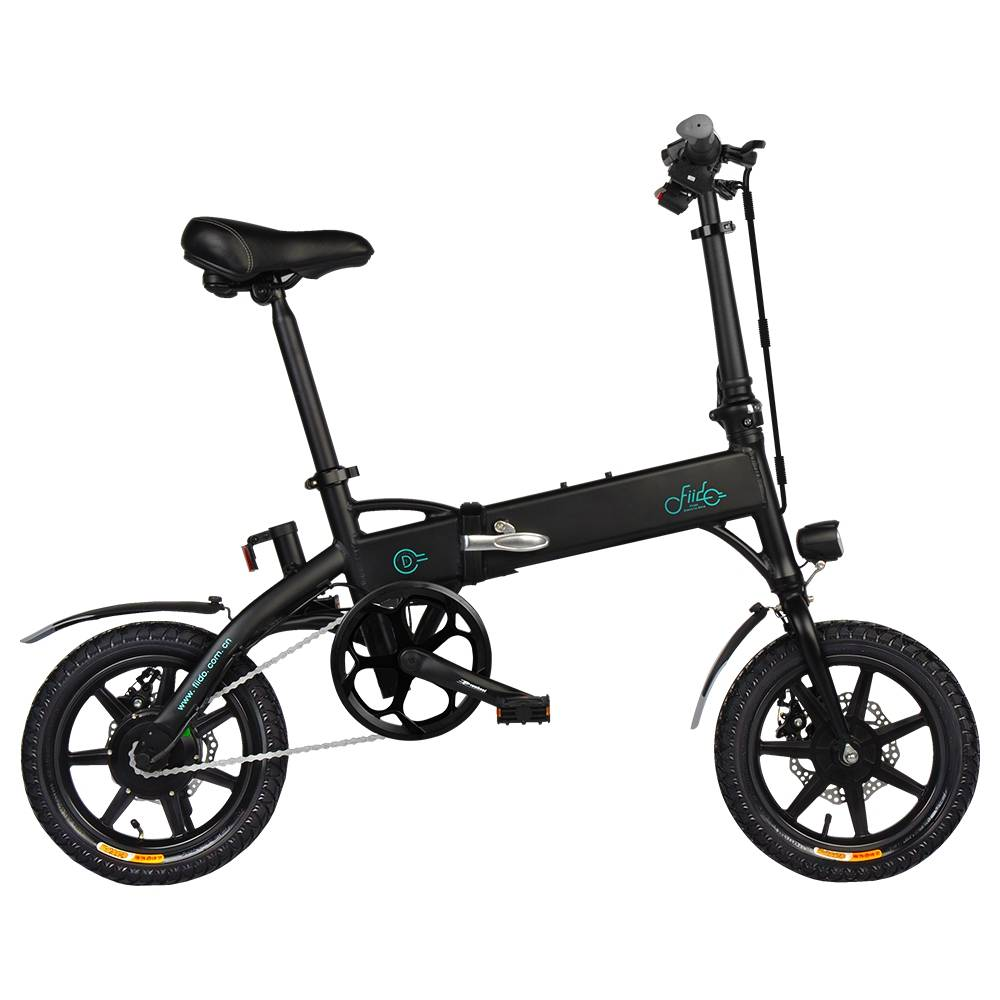 FIIDO D1 Folding Electric Moped Bike City Bike Commuter Bike Three Riding Modes 14 Inch Tires 250W Motor 25km/h 7.8Ah Lithium Battery 25-40KM Range - Black