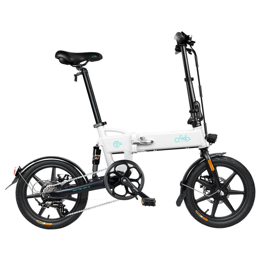 FIIDO D2S Folding Moped Electric Bike Gear Shifting Version City Bike Commuter Bike 16-inch Tires 250W Motor Max 25km/h SHIMANO 6 Speeds Shift 7.8Ah Battery - White
