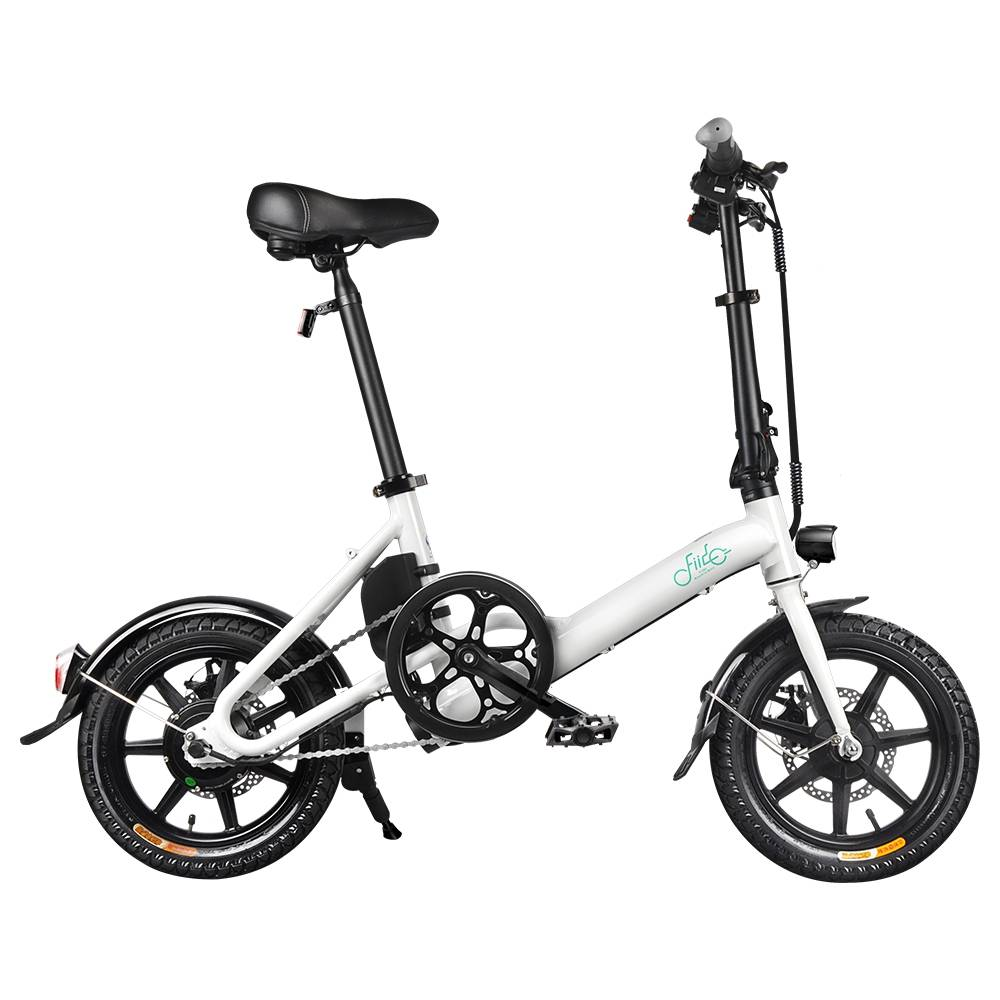 FIIDO D3 Folding Electric Moped Bike City Bike Commuter Bike Three Riding Modes 14 Inch Tires 250W Motor 25km/h 7.8Ah Lithium Battery 25-40KM Range - White