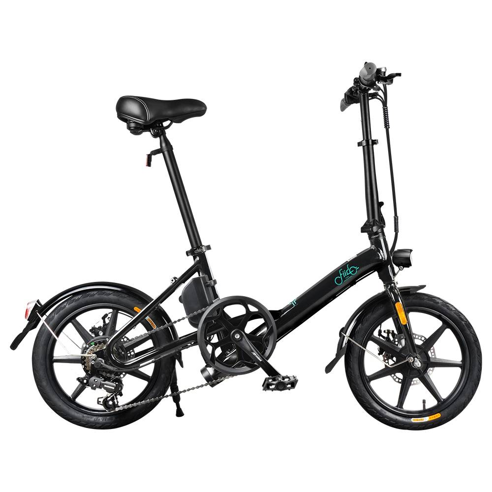 FIIDO D3S Folding Moped Electric Bike Gear Shifting Version City Bike Commuter Bike 16 inch Tires 250W Motor Max 25km/h SHIMANO 6 Speeds Shift 7.8Ah Battery - Black