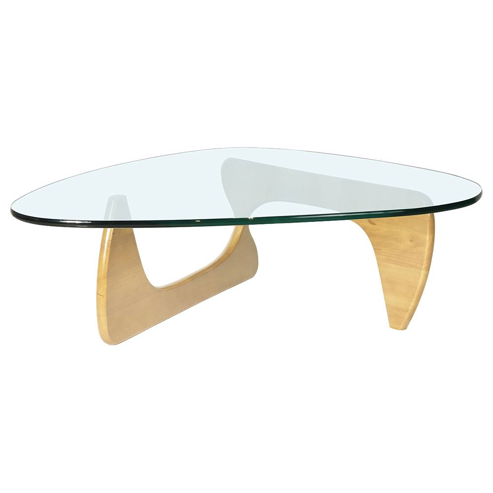 Mesa de centro de vidrio triangular Muebles modernos resistentes al calor para el hogar y la oficina - Marrón