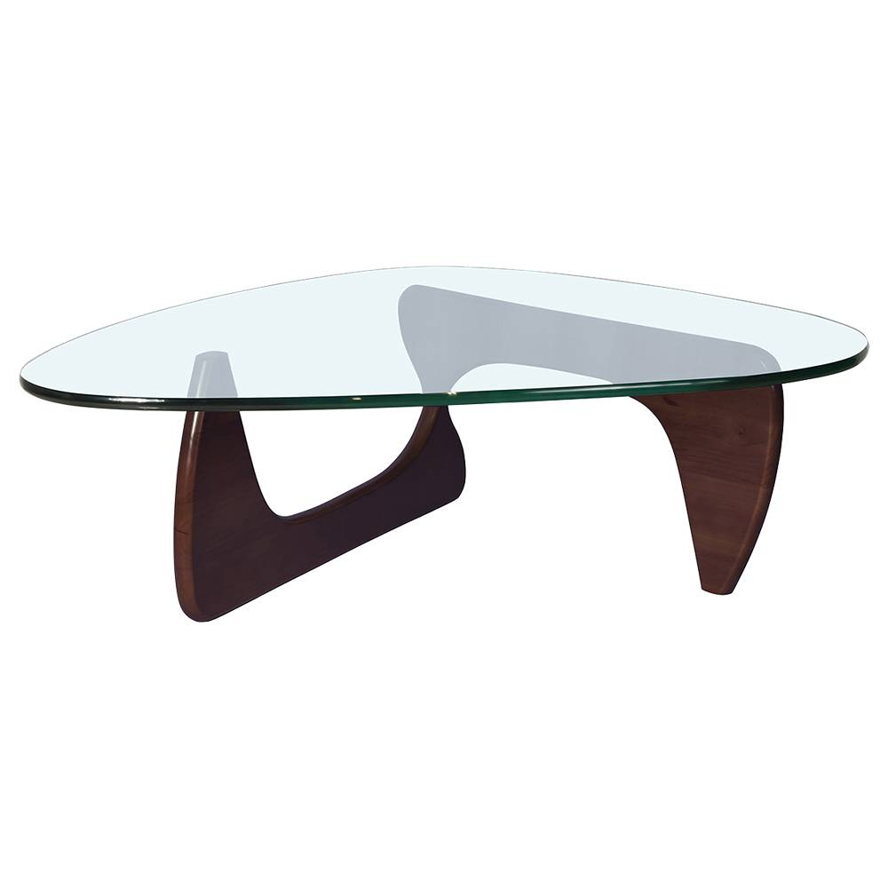 Triangular Glass Coffee Table Deep Walnut Tempered Glass Walnut Feet - Deep Walnut фото