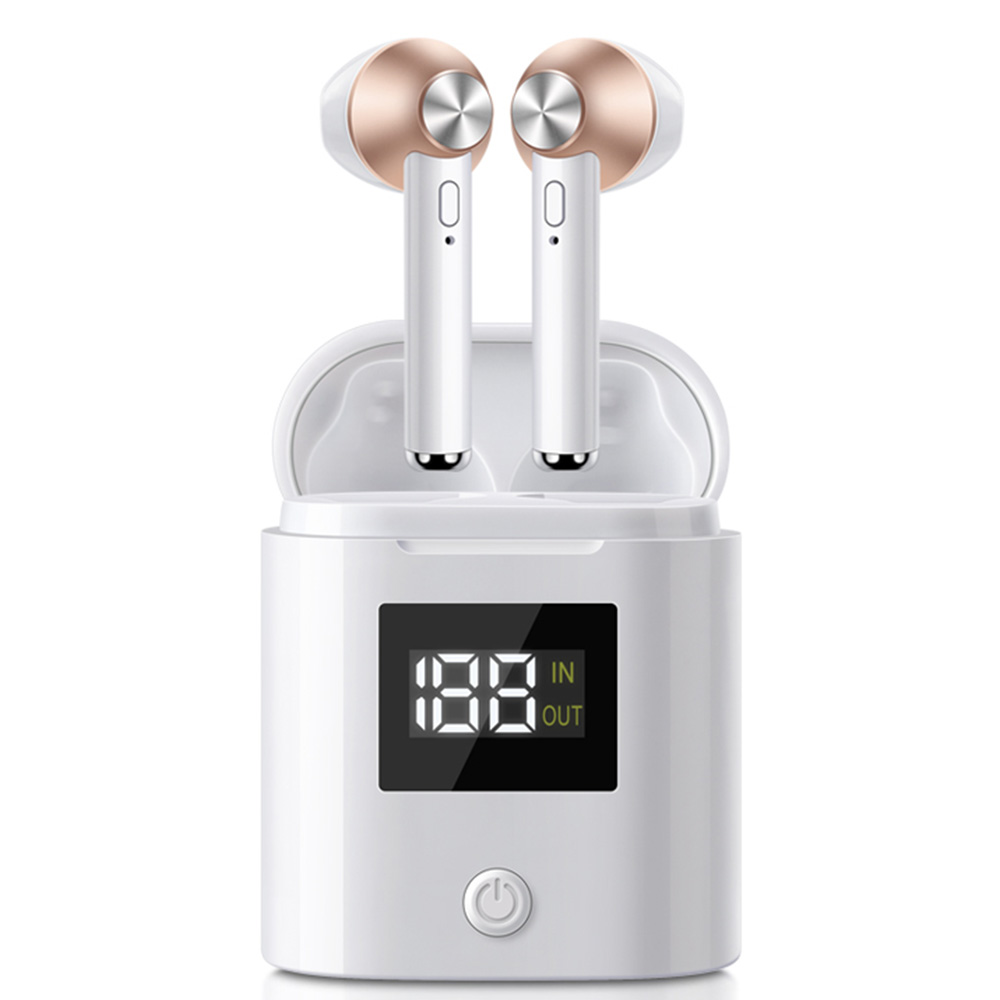 D019 True Wireless Bluetooth 5.0 Earphones Binaural Call LED Power Display 120 Hours Standby Time - Light Gold
