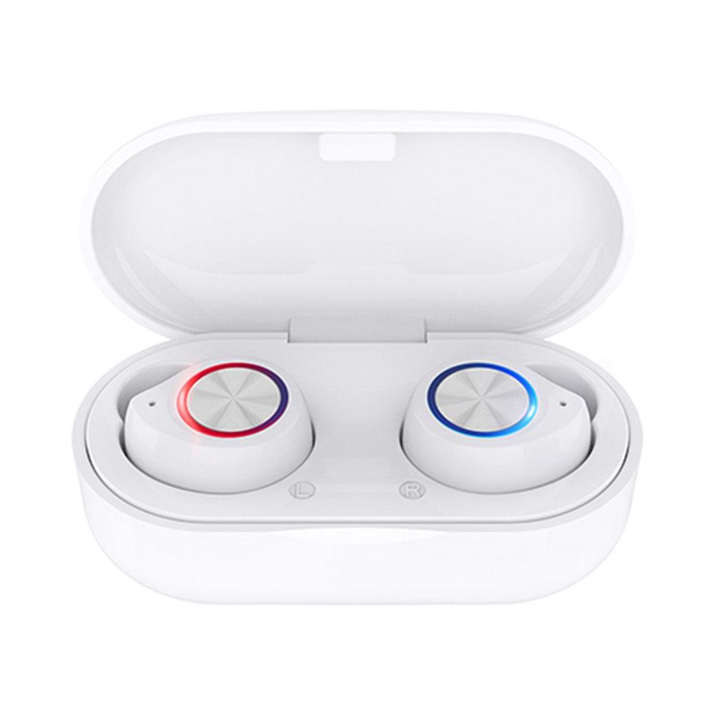 TW60 True Wireless Bluetooth 5.0 Earphones Binaural Call Siri 240 Hours Standby Time Type-C Charging Port - White