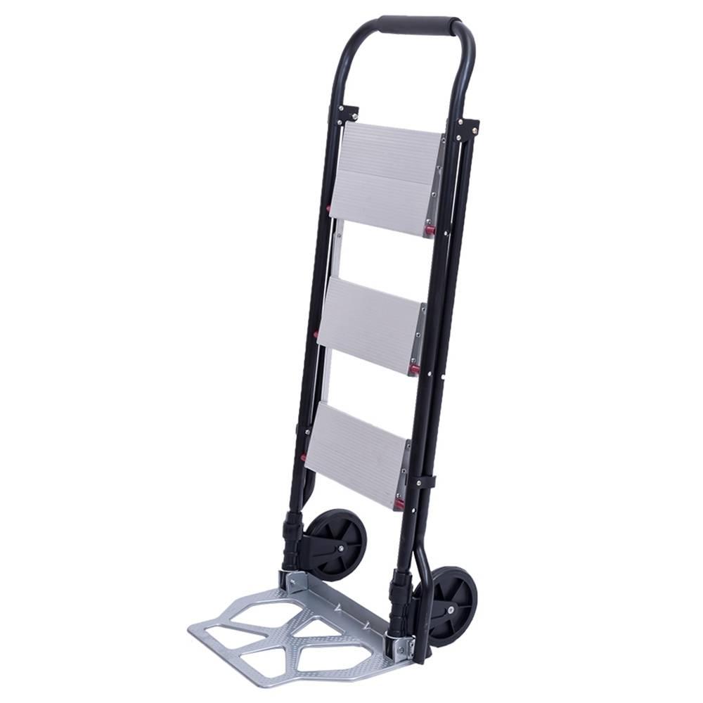 2321F Chariot pliant à roulettes avec roues roulantes Échelle pratique en 2 étapes 1 en 3 - Noir