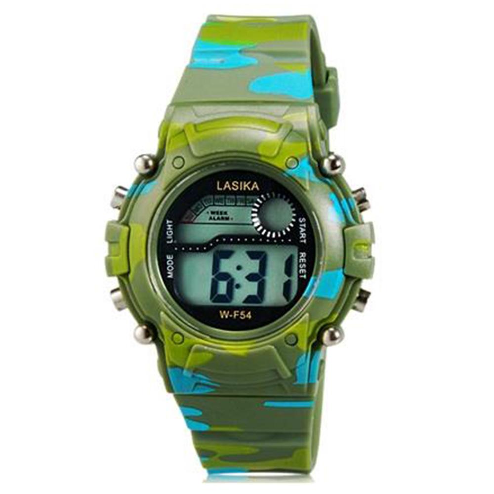 Светодиодные электронные часы LASIKA W-F54 с календарем, будильник и подсветкой - зеленый