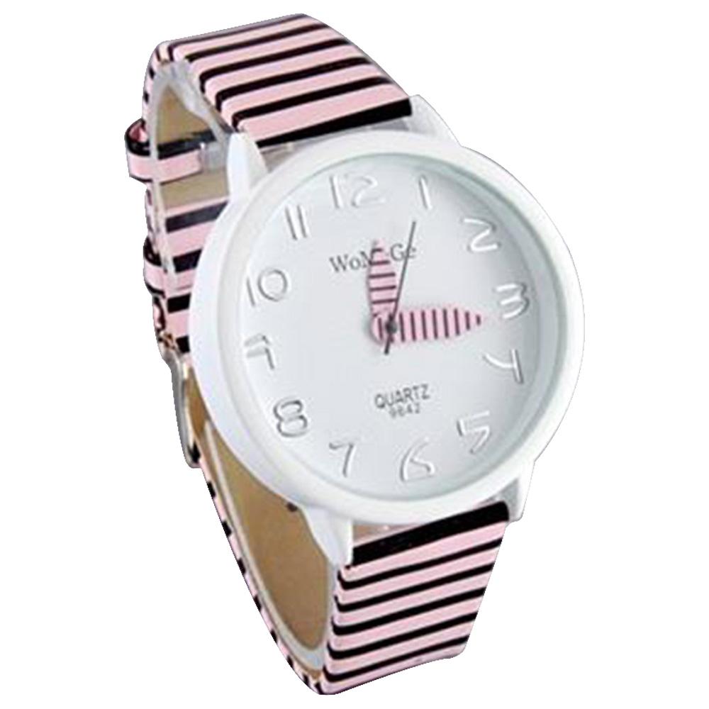 WaMaGe 9642 Женские моды цветные полоски ремешок наручные часы - розовый
