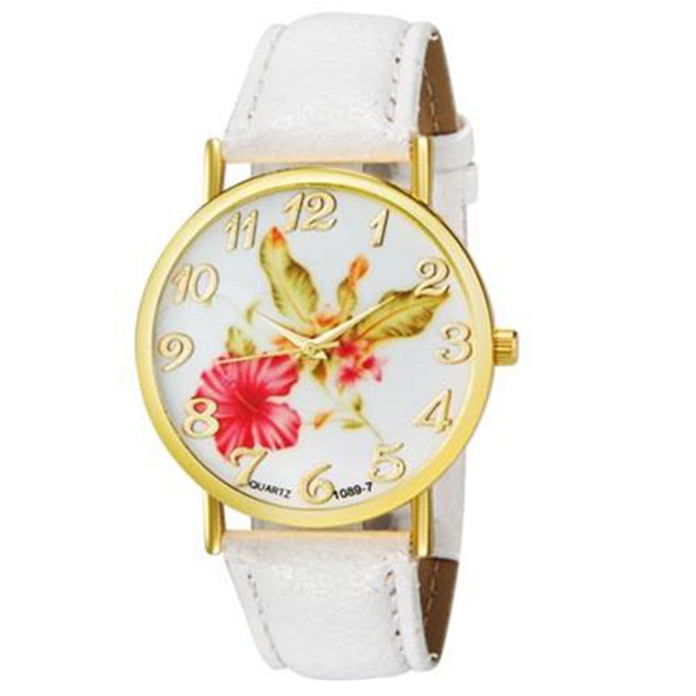 WoMaGe 1089-7 Модные женские аналоговые кварцевые наручные часы с цветочным узором и искусственной кожаной лентой - белые