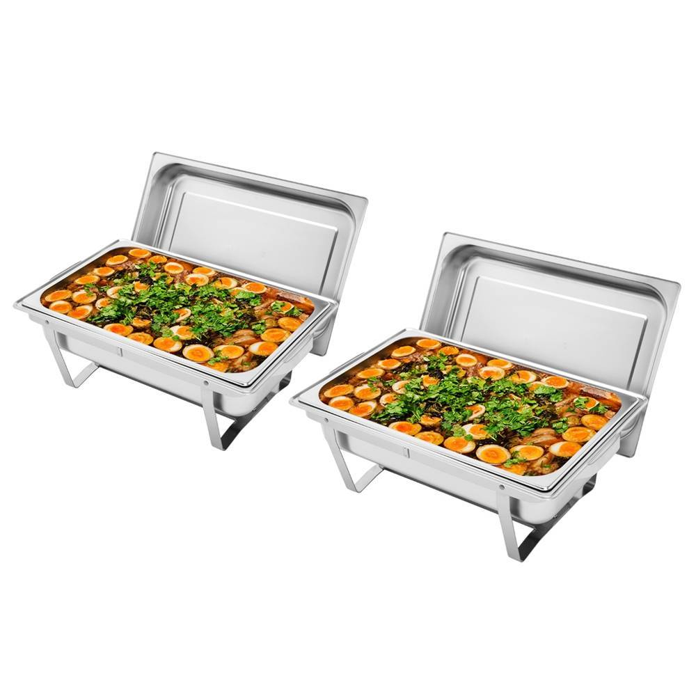 2pcs ZOKOP 8Qt Stainless Steel Rectangle Buffet Stove With Covers Water & Food Pans Fuel Holders - Sliver