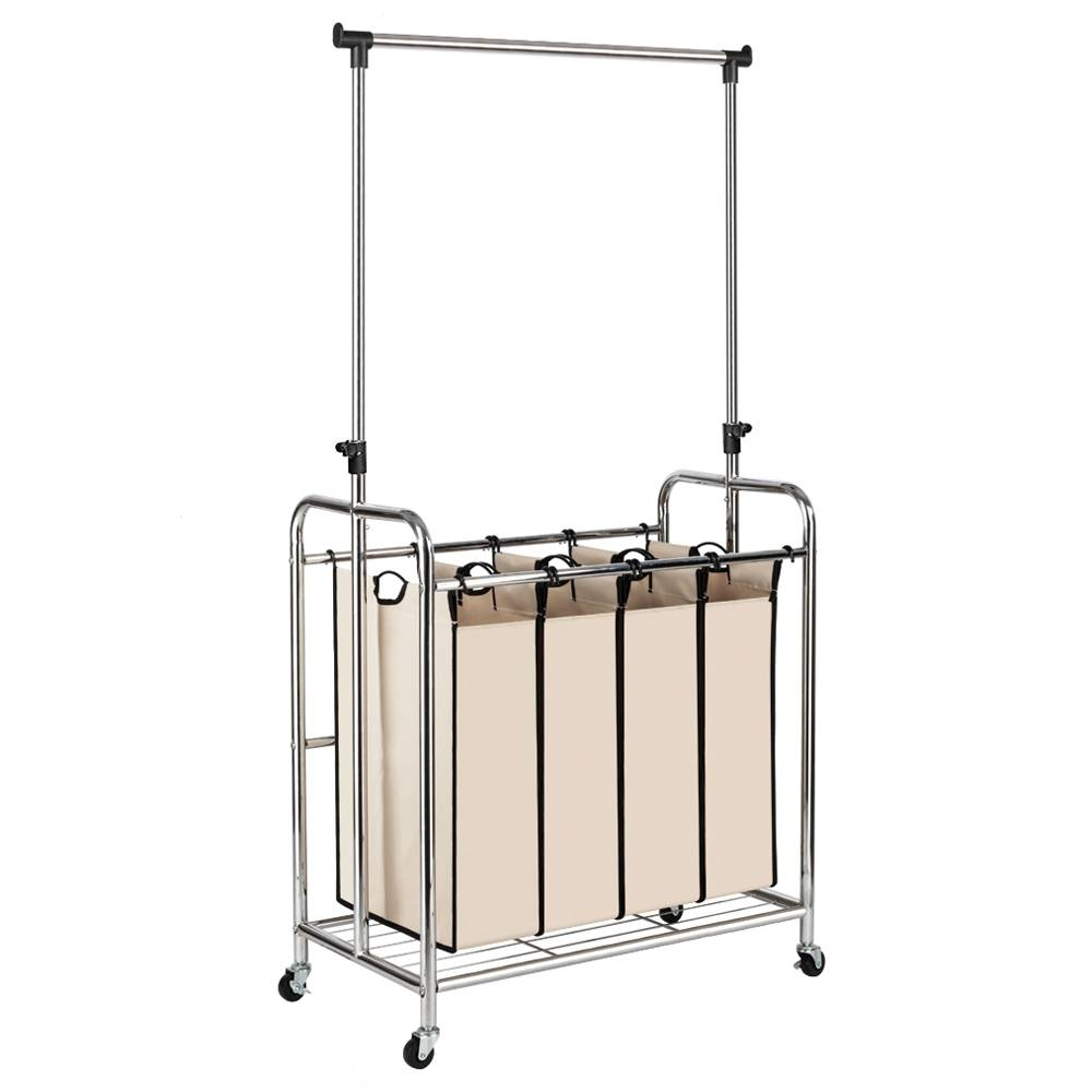 Laundry Sorter With Hanging Bar 4-bag Laundry Hamper Sorter With Rolling Wheels - Silver
