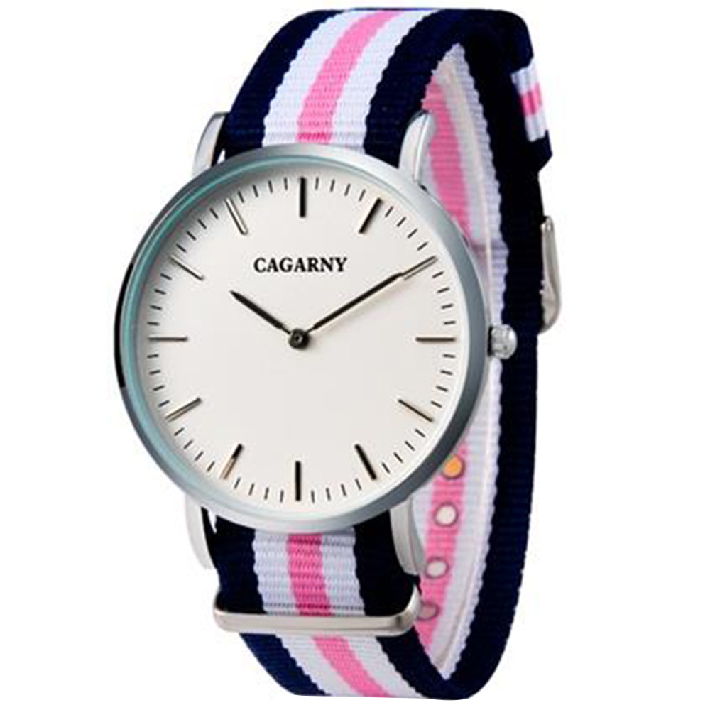 CAGARNY 6812 Unisex Business Casual Ultra-thin Waterproof Watch with Nylon Cloth Strap - Silver