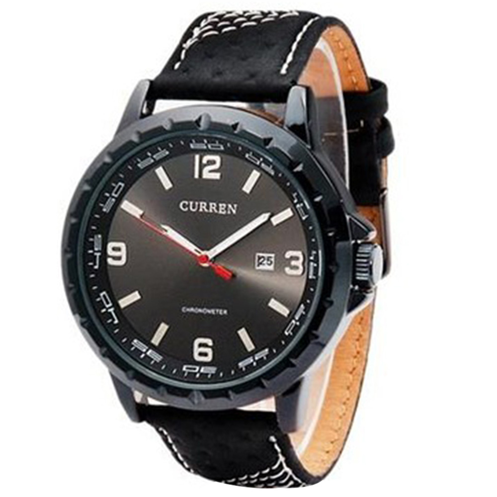 CURREN 8120 Men's Round Dial Analog Watch with Date Display - Black