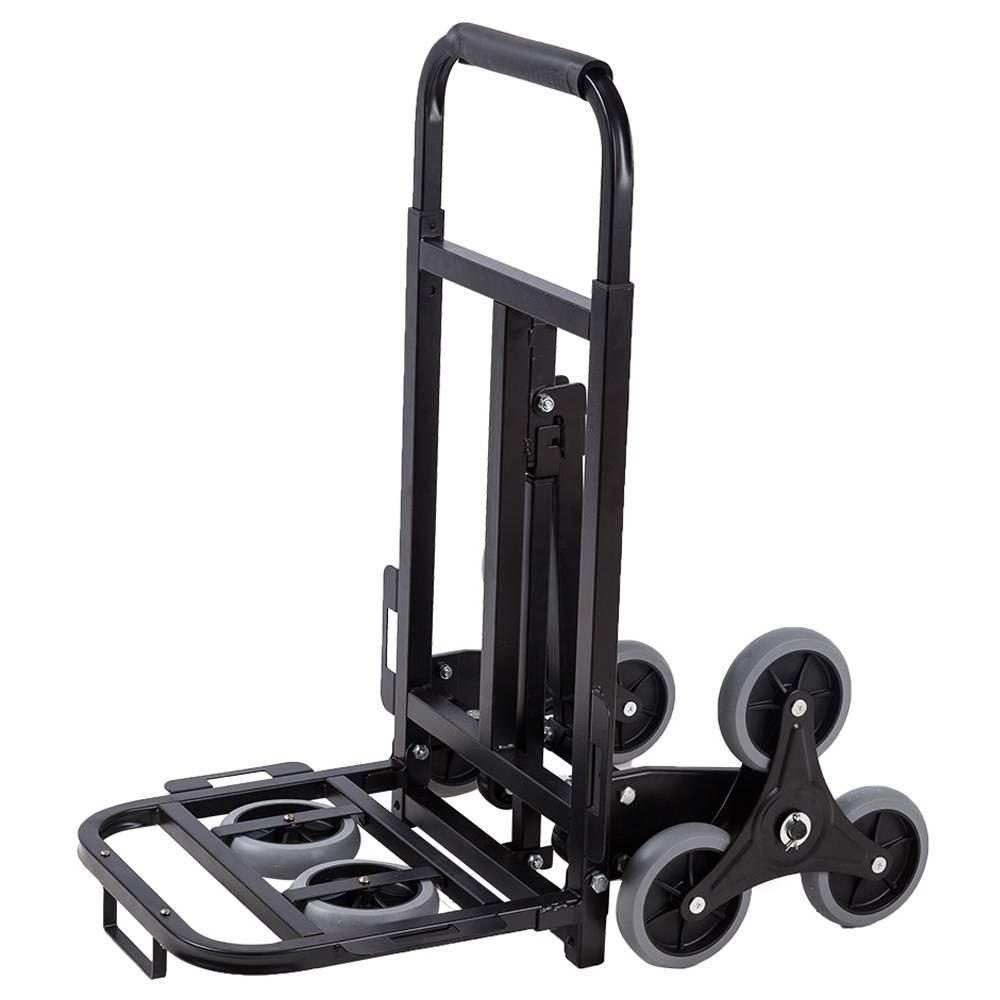 2025B Folding Trolley Cart 330lbs Capacity Utility Three-Wheel Trolley - Black