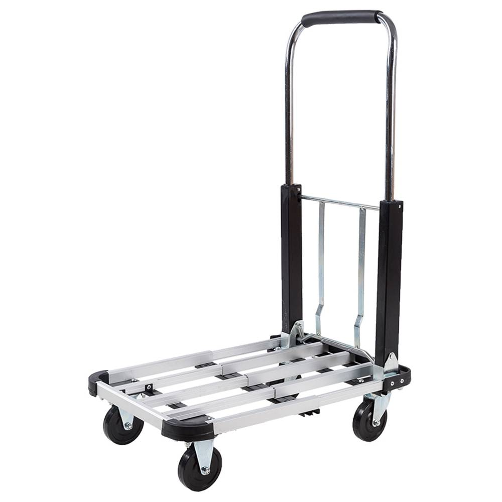 2040H Folding Four-Wheel Flatbed Cart 330lbs Capacity Portable Cart - Silver