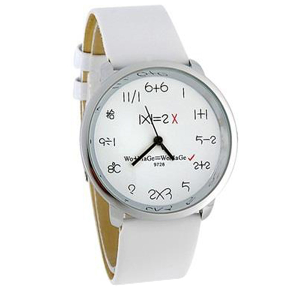 Unisex Analog Watch with PU Leather Strap - White