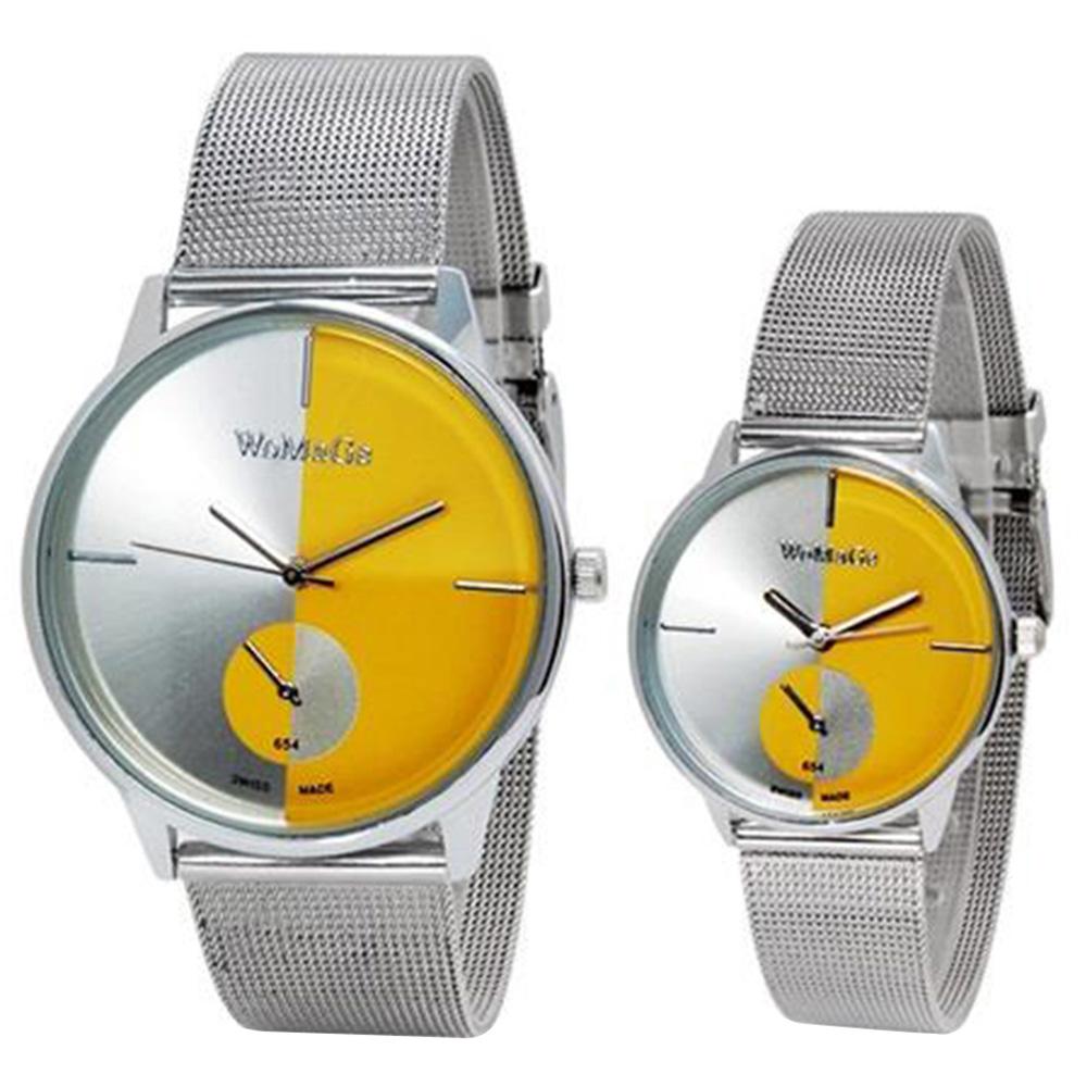 WOMAGE 654 Модные аналоговые часы для пары - желтый