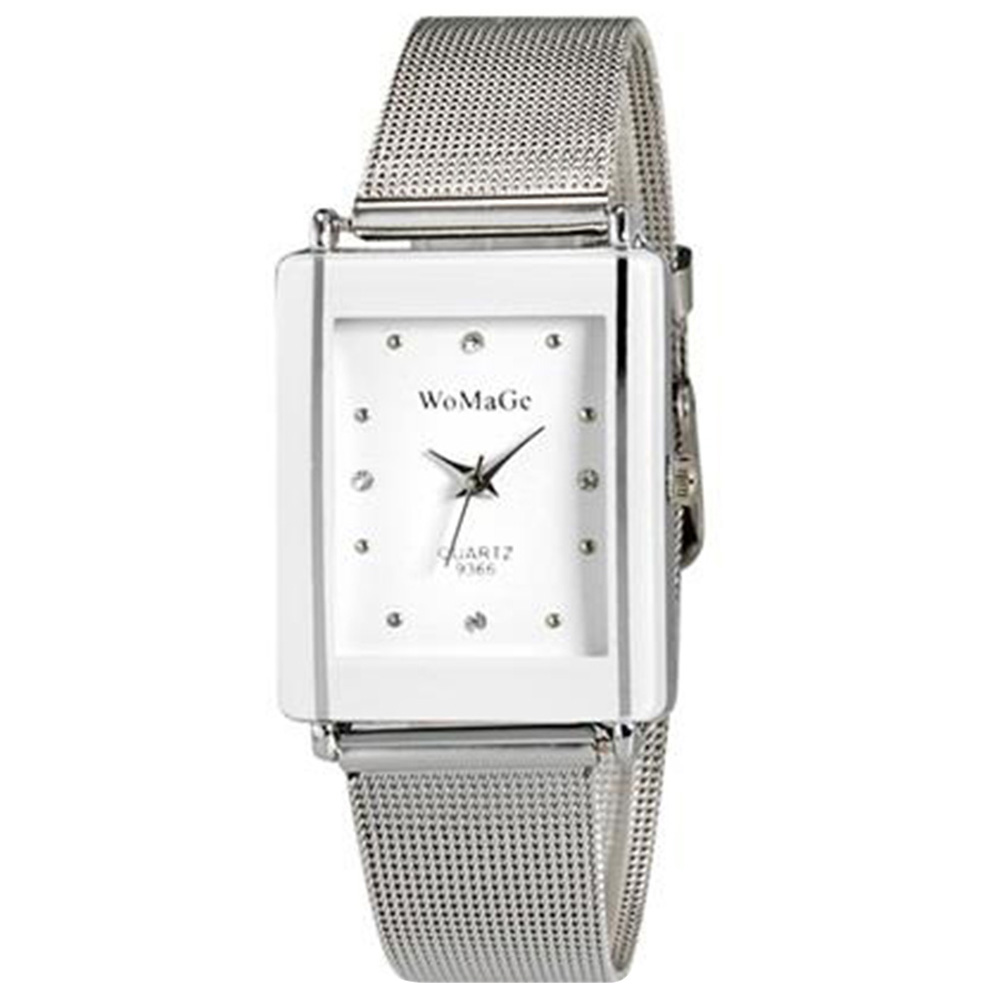 WoMaGe 9366 Women's Fashionable Chic Thin Rectangle Case Style Analog Quartz Wrist Watch with Alloy Strap - White