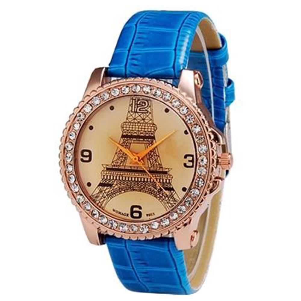 WOMAGE 9953 Женская круглая циферблат с украшением башни Аналоговый дисплей Стильные наручные часы - голубой