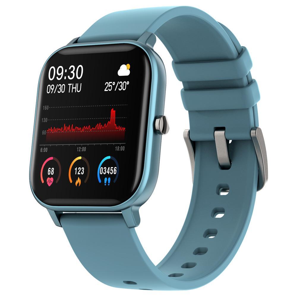 ساعة ذكية من مايبيس P8 ، ساعة ذكية لقياس ضغط الدم ومعدل ضربات القلب ، 1.4 بوصة ، نظام مراقبة الأوكسجين ومراقبة النوم ، IPX7 ضد الماء ، تعمل بتقنية IOS / Android - أزرق