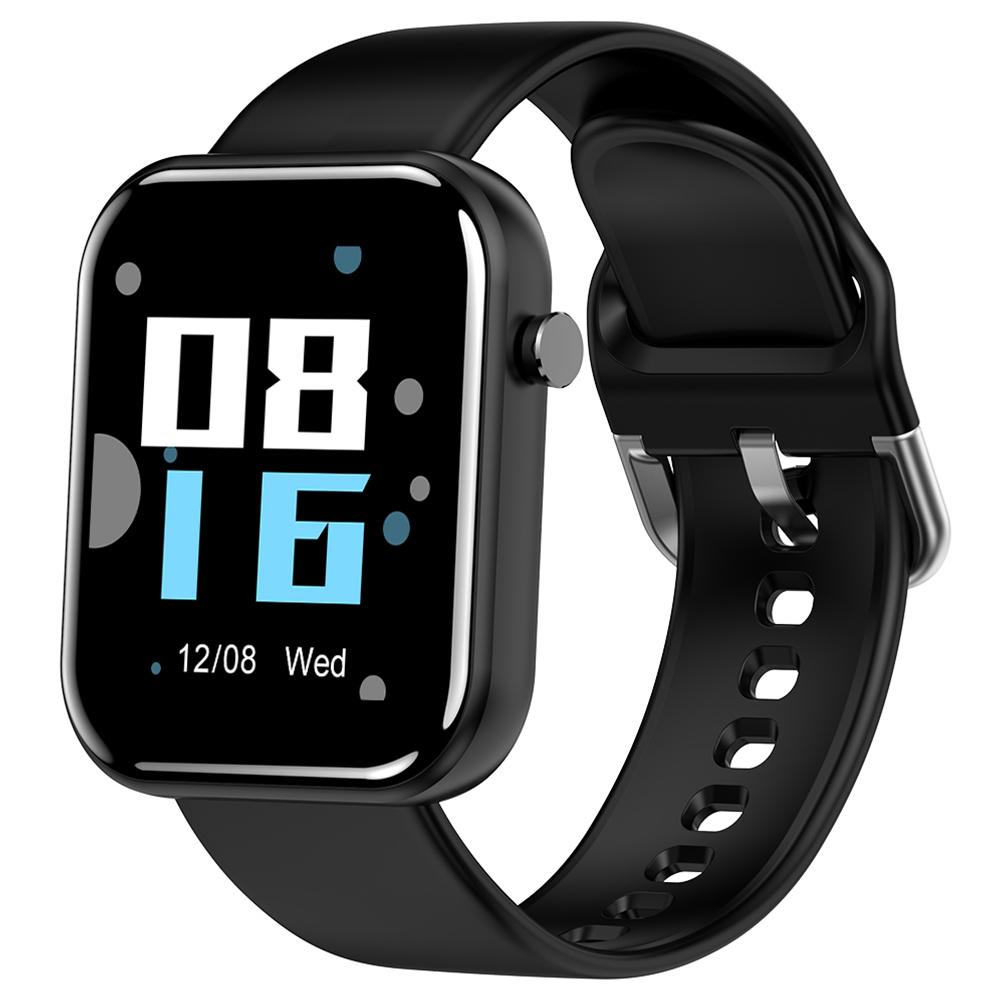Makibes Z11 Smartwatch 1.54 Inch IPS Screen Blood Pressure Heart Rate Monitor Sleep Tracker IP68 Waterproof Silicone Strap - Black
