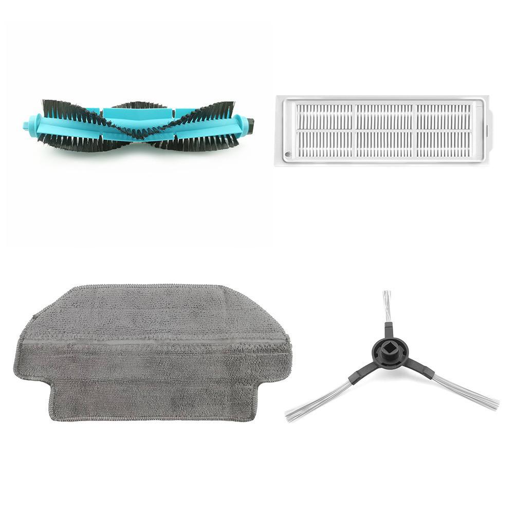 Cepillo rodante Original de 1 pieza + 4 cepillos laterales + 4 piezas de paños de limpieza + 4 piezas de filtros de caja de polvo para aspiradora robot Xiaomi VIOMI V2 / V2 PRO / V3 / SE