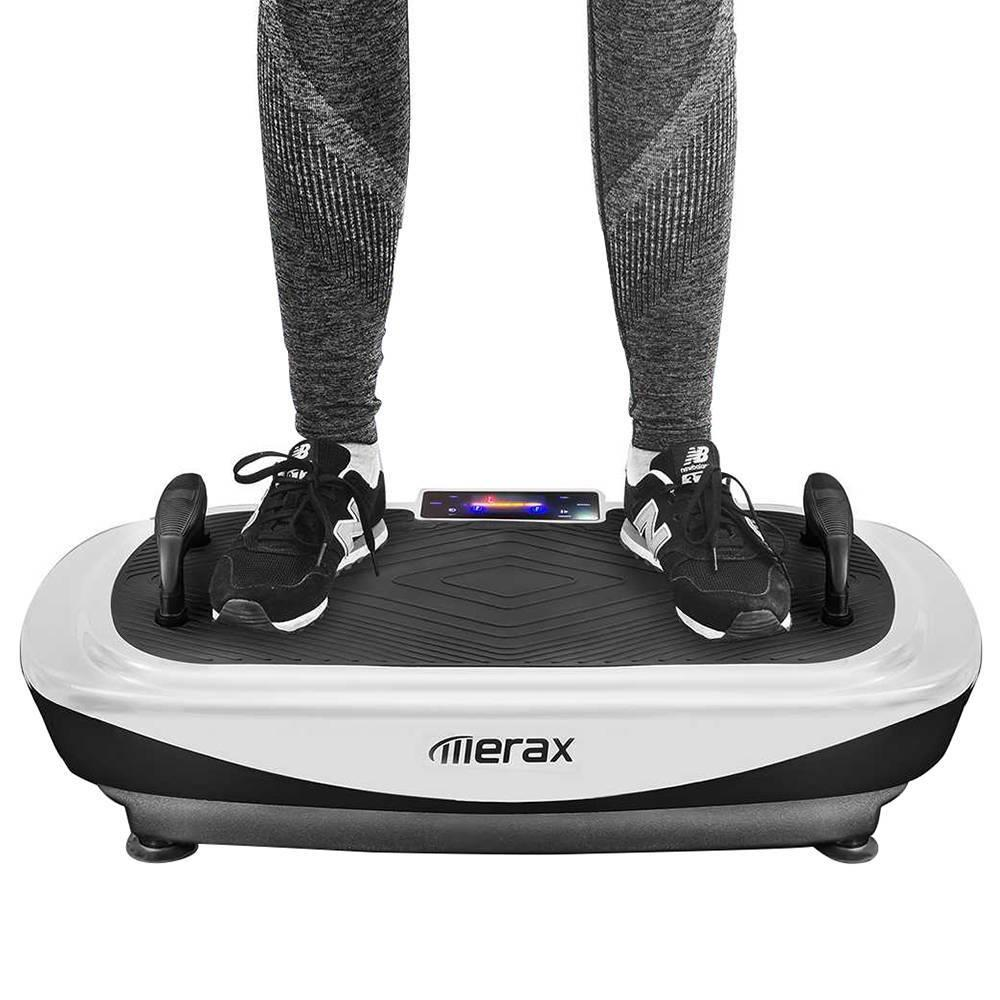 Merax 4D Vibration Plate Machine Triple Motor LCD Display Resistance Bands - Black White