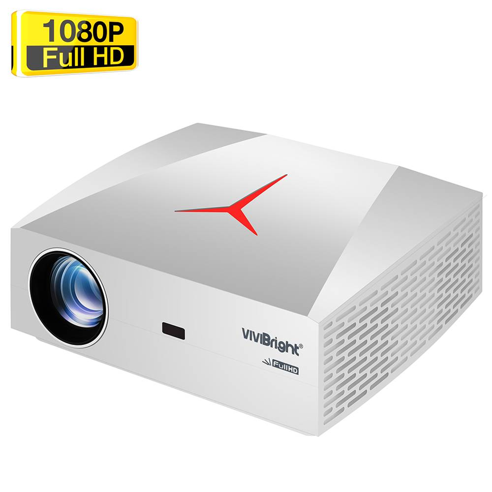 "VIVIBRIGHT F40UP Native 1080P Android LED Projector 4200 Lumens 300"" Image Size 15000:1 Contrast Ratio HiFi Stereo Speaker Netflix Youtube KODI HDMI SPDIF - White"